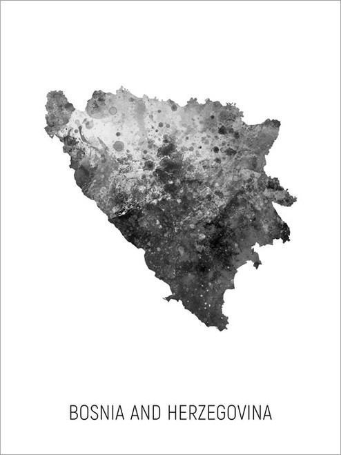 Bosnia and Herzegovina Map Poster Art Print