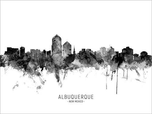 Albuquerque New Mexico Skyline Cityscape Poster Art Print