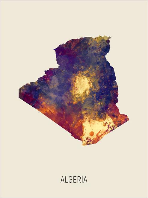 Algeria Map Poster Art Print
