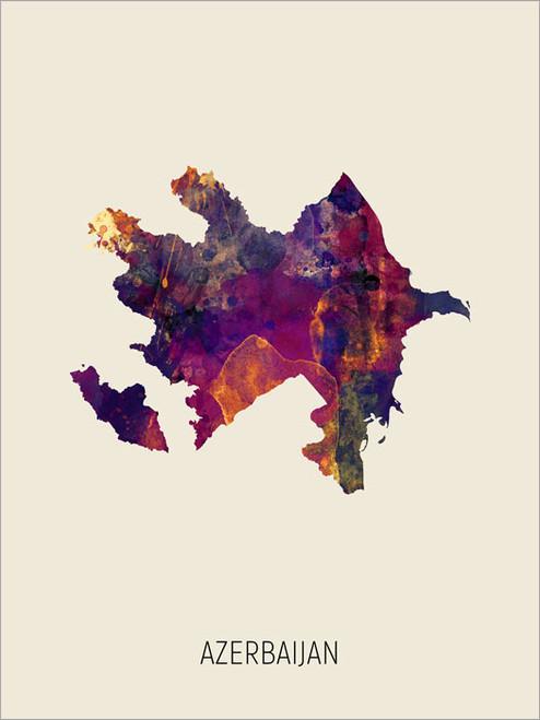 Azerbaijan Map Poster Art Print