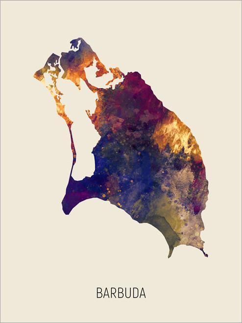 Barbuda Map Poster Art Print