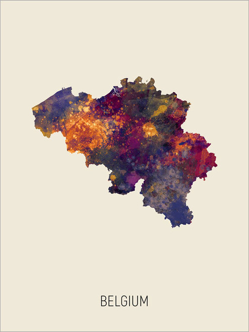 Belgium Map Poster Art Print