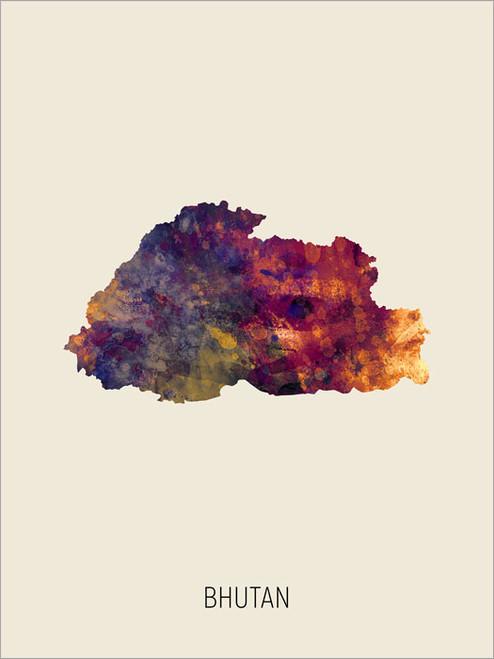 Bhutan Map Poster Art Print