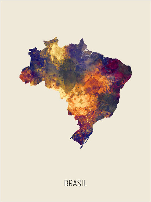 Brasil Map Poster Art Print