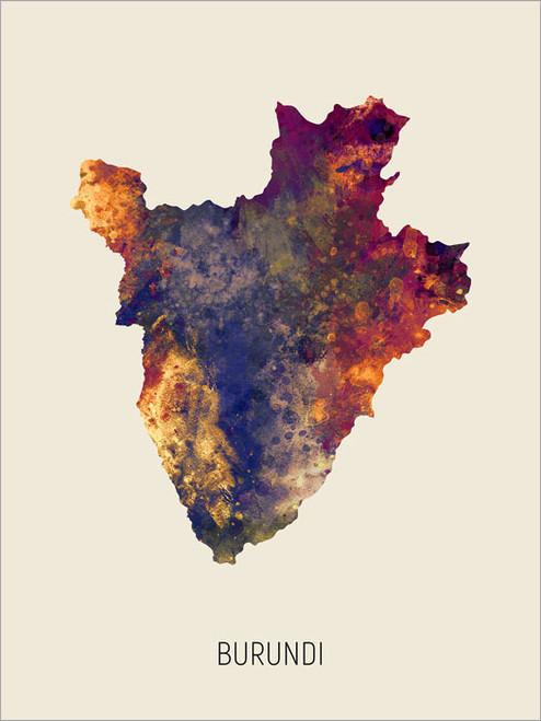 Burundi Map Poster Art Print