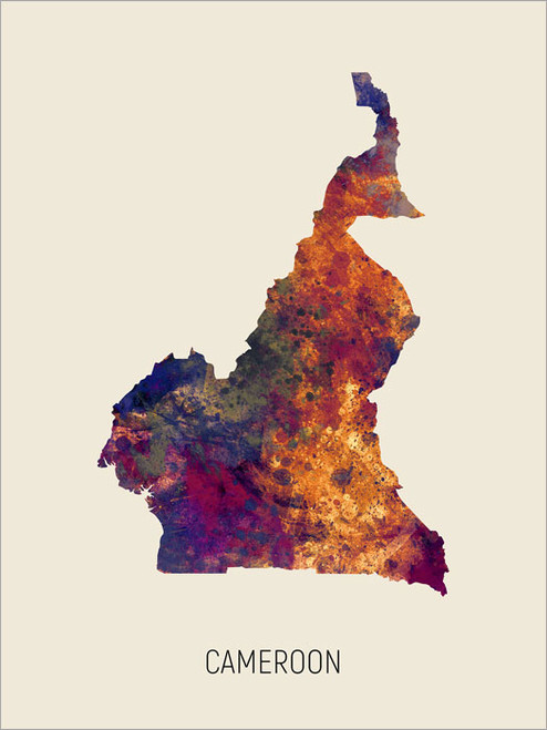 Cameroon Map Poster Art Print