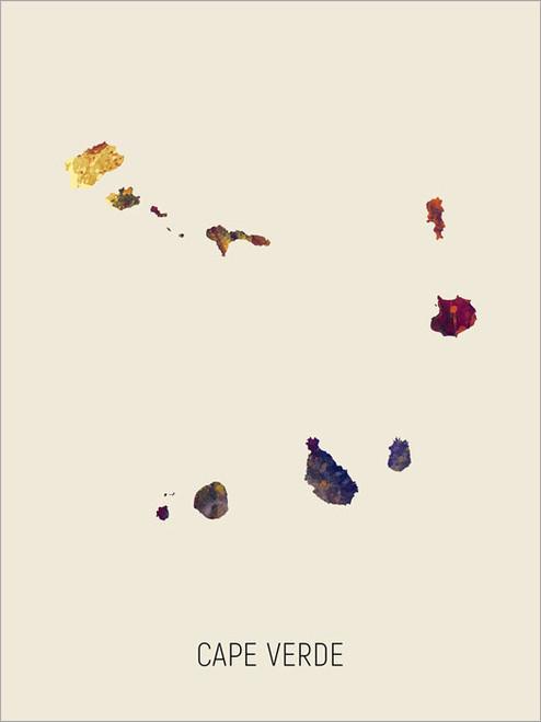 Cape Verde Map Poster Art Print