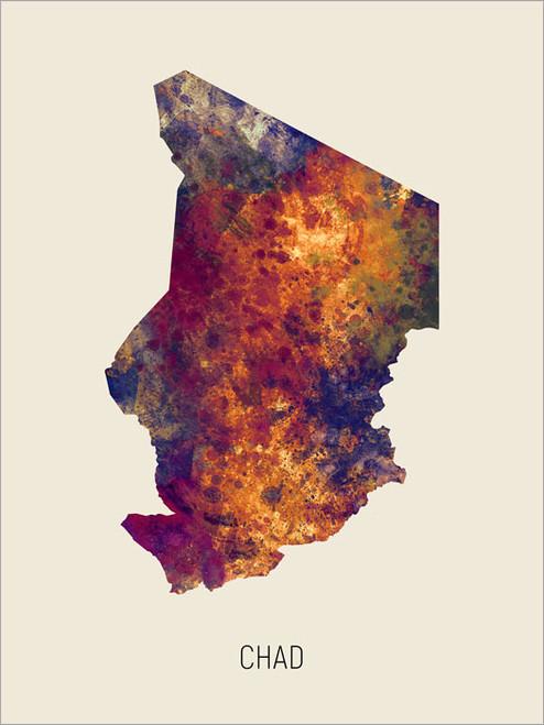 Chad Map Poster Art Print