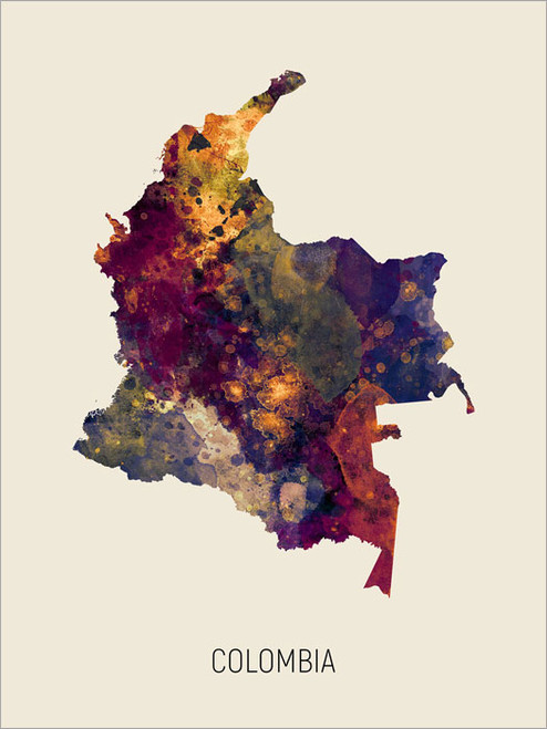Colombia Map Poster Art Print