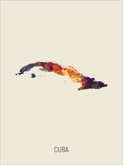 Cuba Map Poster Art Print