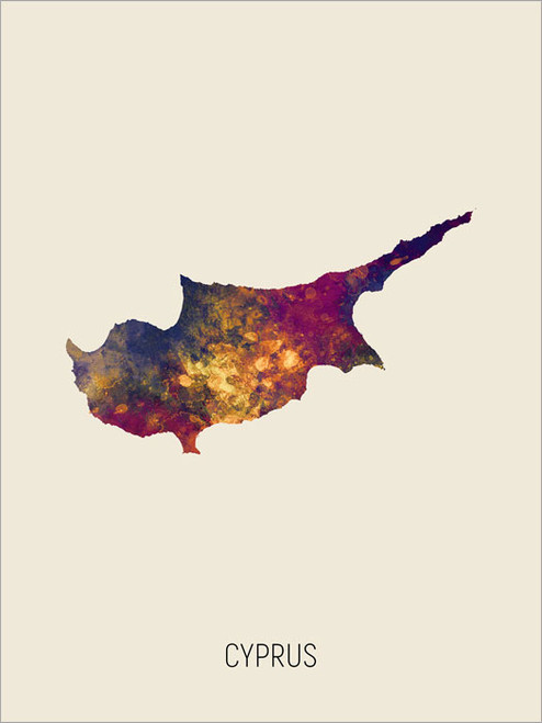 Cyprus Map Poster Art Print
