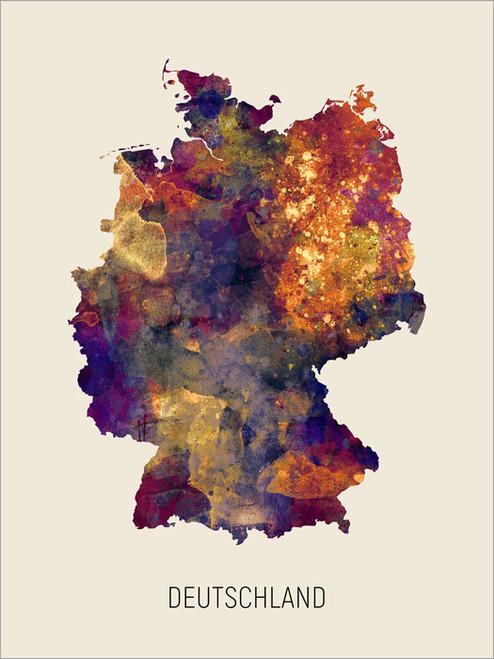 Deutschland Map Poster Art Print