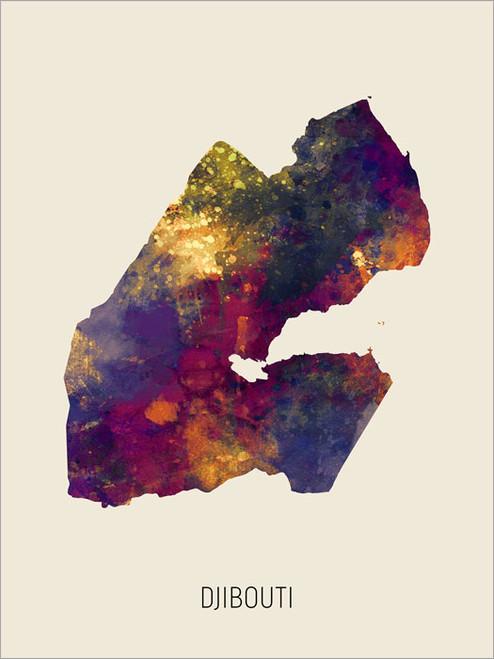 Djibouti Map Poster Art Print