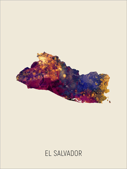 El Salvador Map Poster Art Print