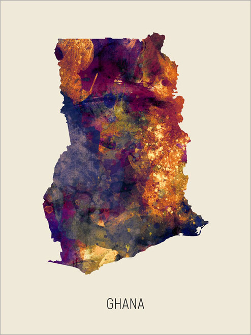 Ghana Map Poster Art Print