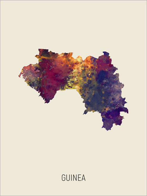 Guinea Map Poster Art Print