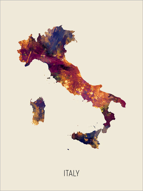 Italy Map Poster Art Print