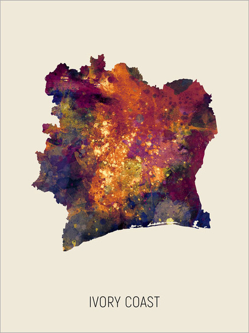 Ivory Coast Map Poster Art Print