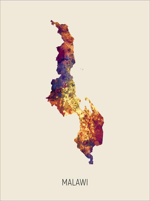Malawi Map Poster Art Print