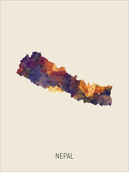 Nepal Map Poster Art Print