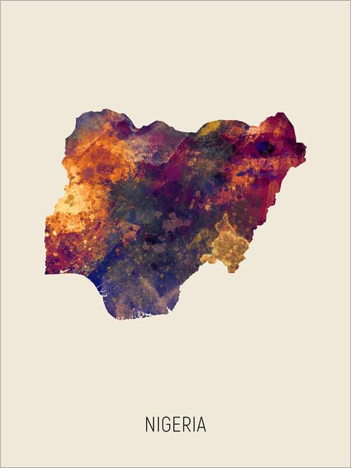 Nigeria Map Poster Art Print