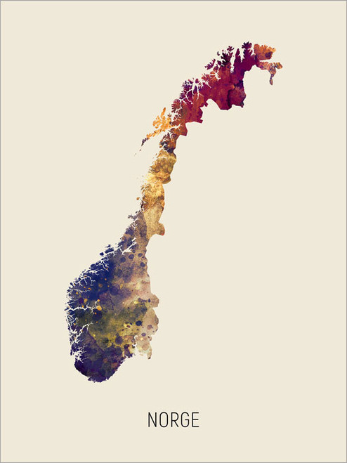 Norge Map Poster Art Print