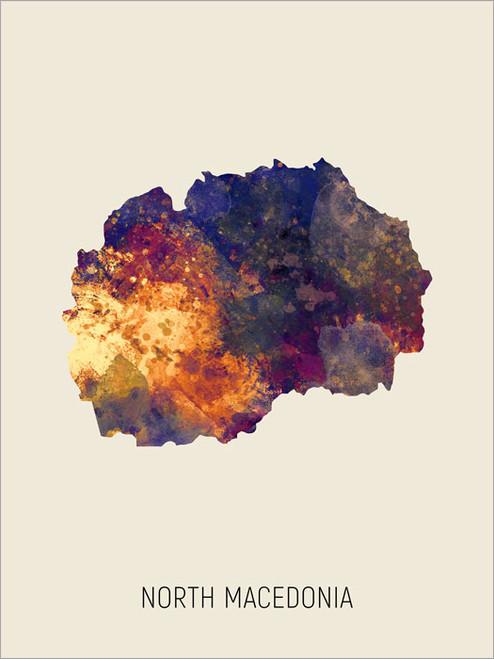 North Macedonia Map Poster Art Print