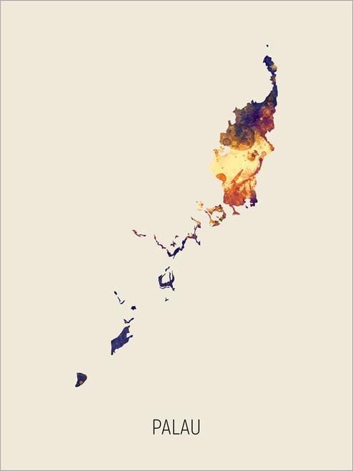 Palau Map Poster Art Print
