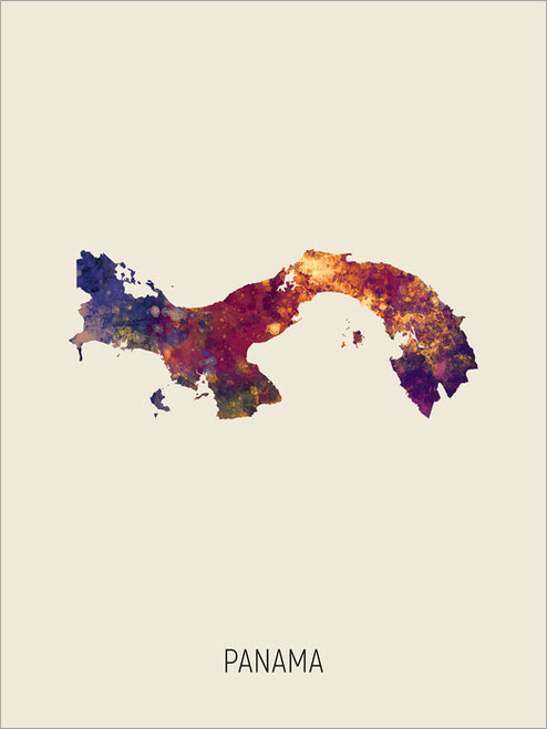 Panama Map Poster Art Print