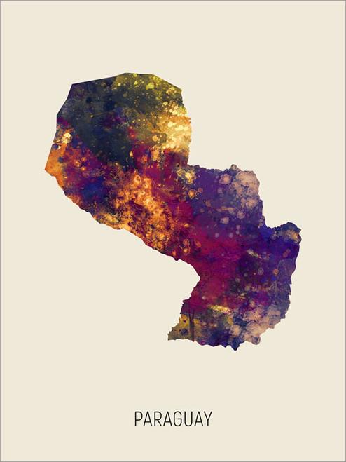 Paraguay Map Poster Art Print