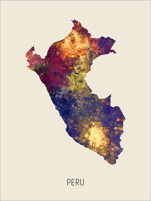 Peru Map Poster Art Print