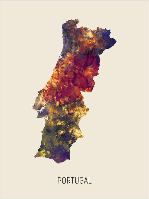 Portugal Map Poster Art Print