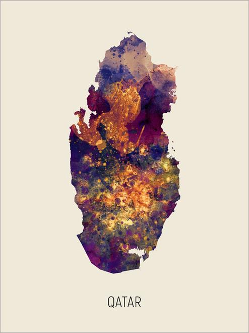 Qatar Map Poster Art Print