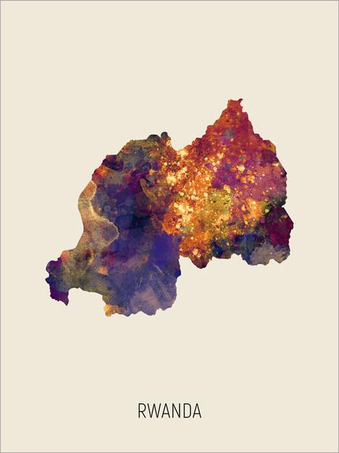 Rwanda Map Poster Art Print