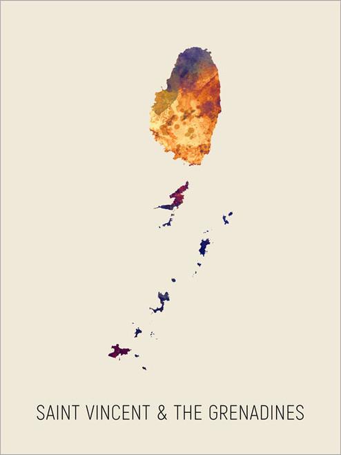 Saint Vincent & The Grenadines Map Poster Art Print