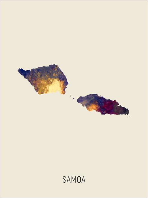 Samoa Map Poster Art Print