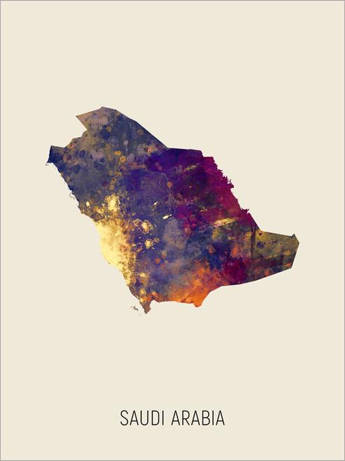 Saudi Arabia Map Poster Art Print