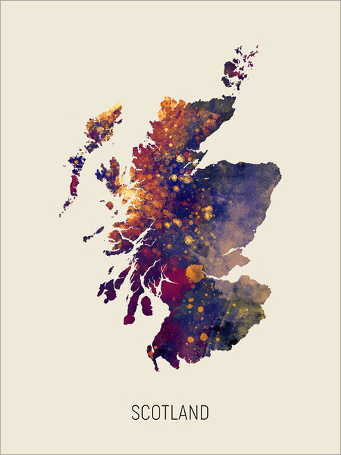 Scotland Map Poster Art Print