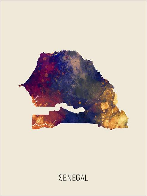 Senegal Map Poster Art Print