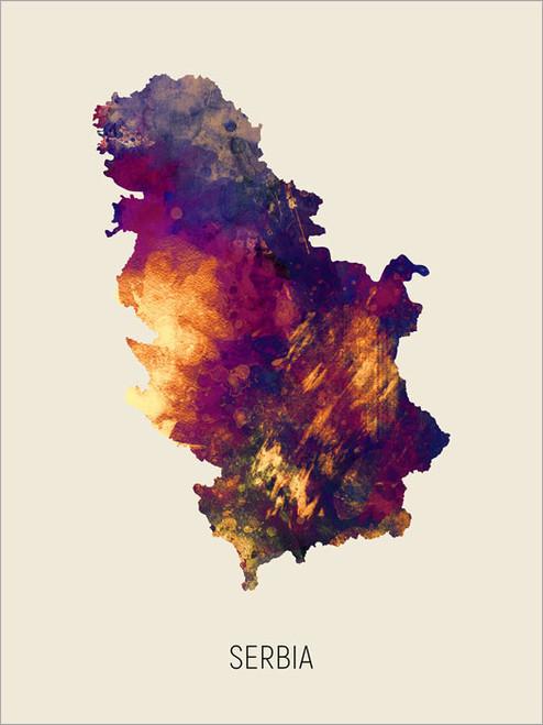 Serbia Map Poster Art Print