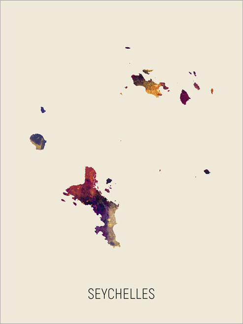 Seychelles Map Poster Art Print