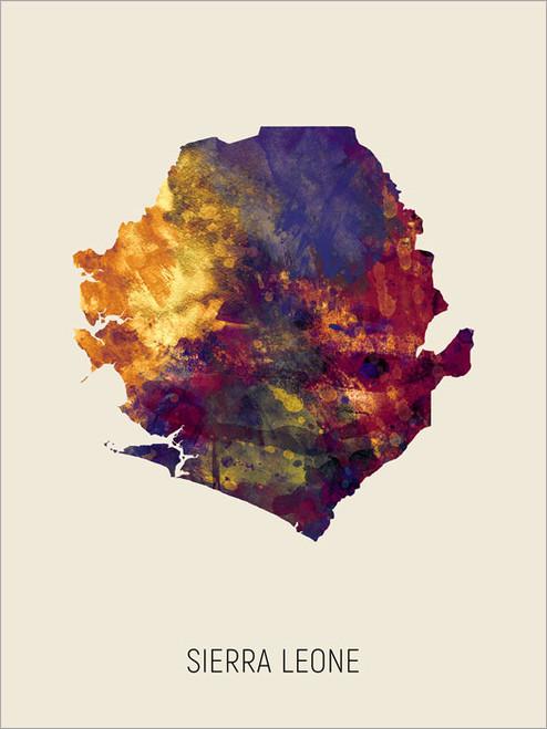 Sierra Leone Map Poster Art Print
