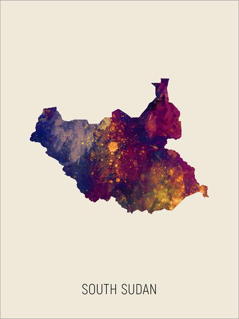 South Sudan Map Poster Art Print