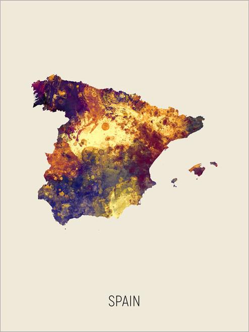 Spain Map Poster Art Print