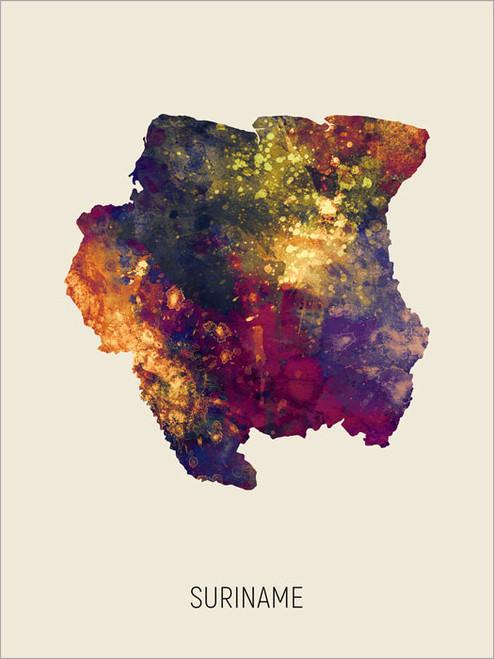 Suriname Map Poster Art Print