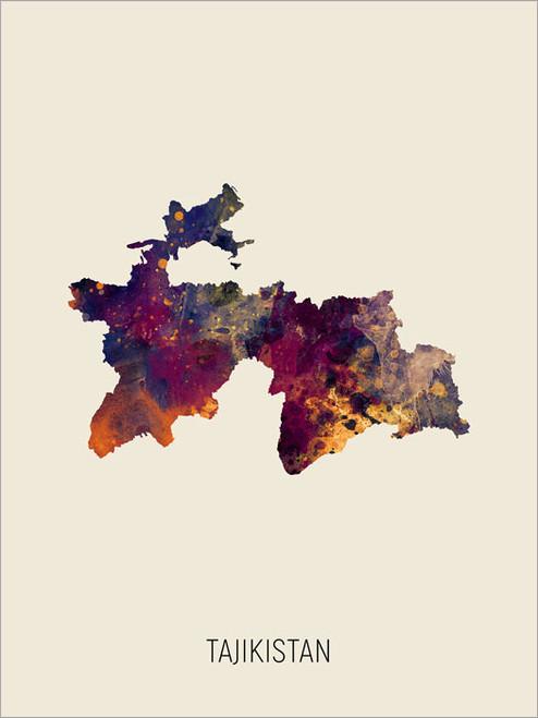 Tajikistan Map Poster Art Print