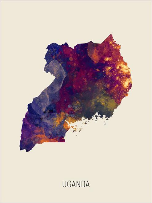 Uganda Map Poster Art Print