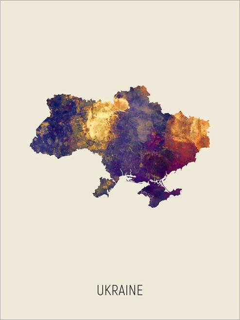 Ukraine Map Poster Art Print