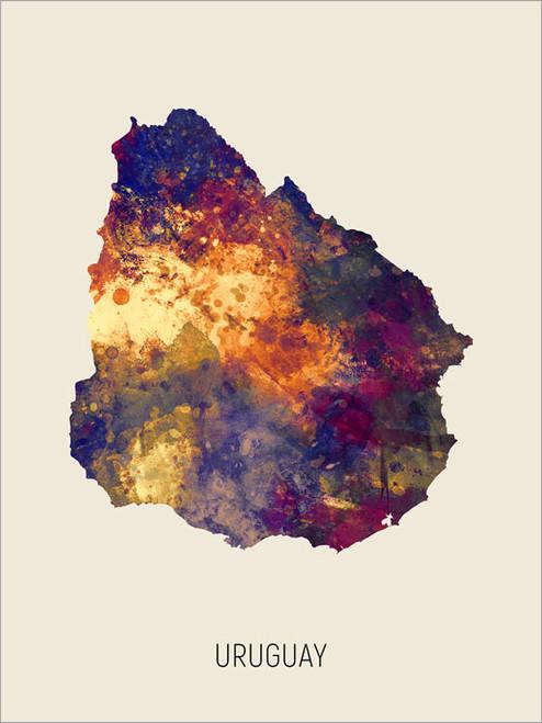 Uruguay Map Poster Art Print
