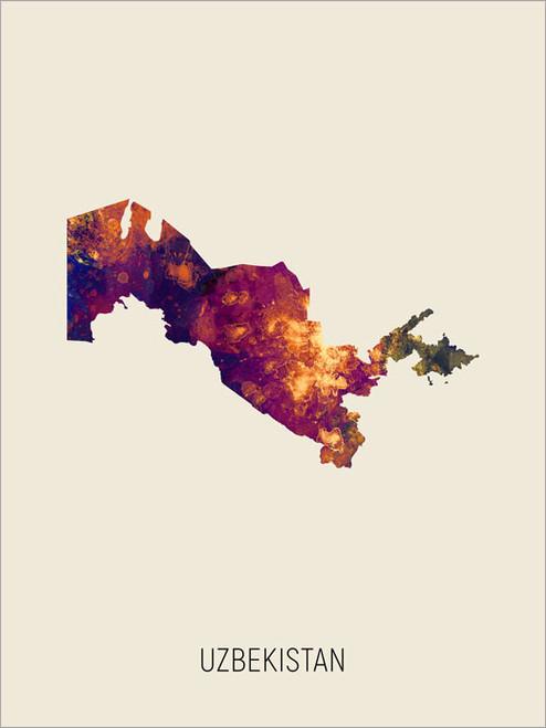 Uzbekistan Map Poster Art Print